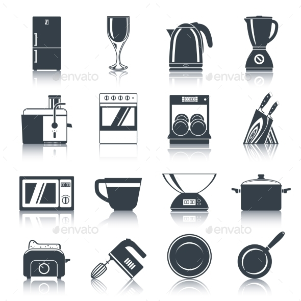 GraphicRiver Kitchen Appliances Icons Black 9262813