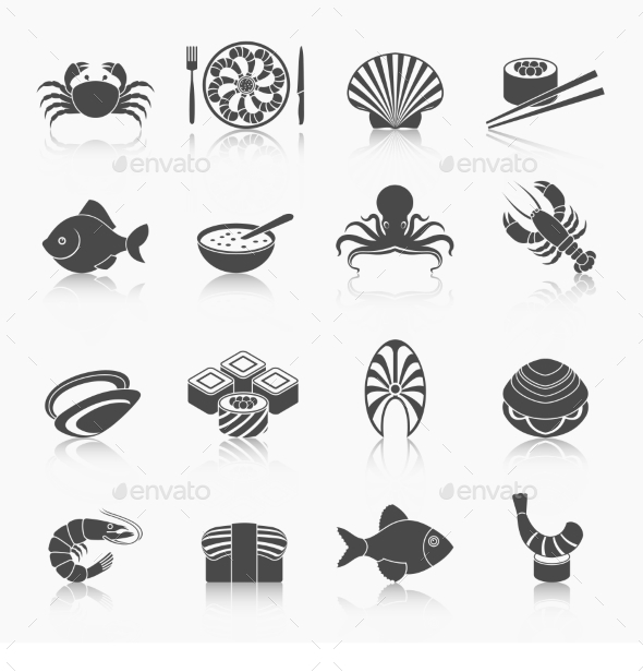 GraphicRiver Seafood Icons Set 9262843