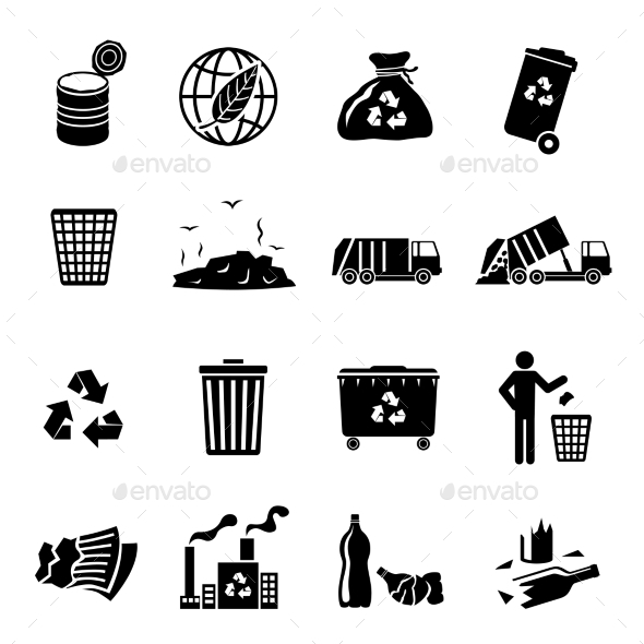GraphicRiver Garbage Icons Black 9262863