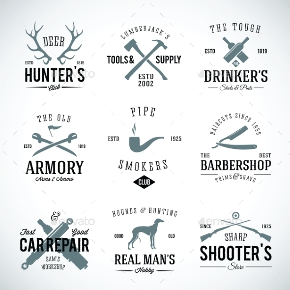 GraphicRiver Set of Vintage Labels With Retro Typography 9262866