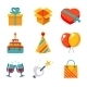 Gift and Birthday Party Icons - GraphicRiver Item for Sale