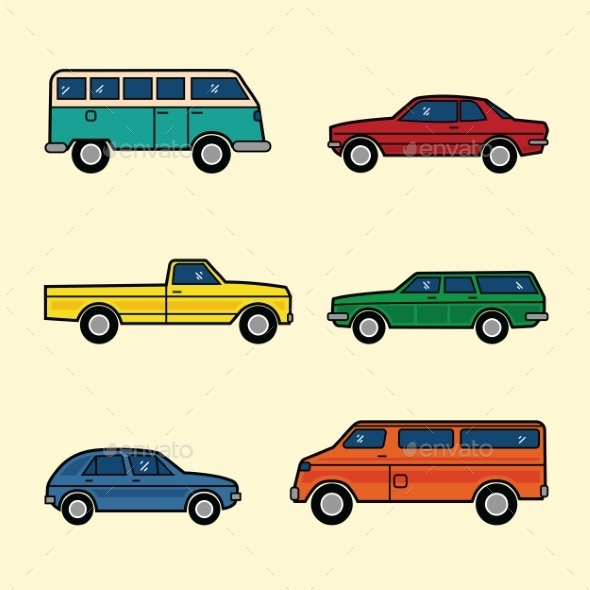 GraphicRiver Line Style Color Vector Cars Set 9263457