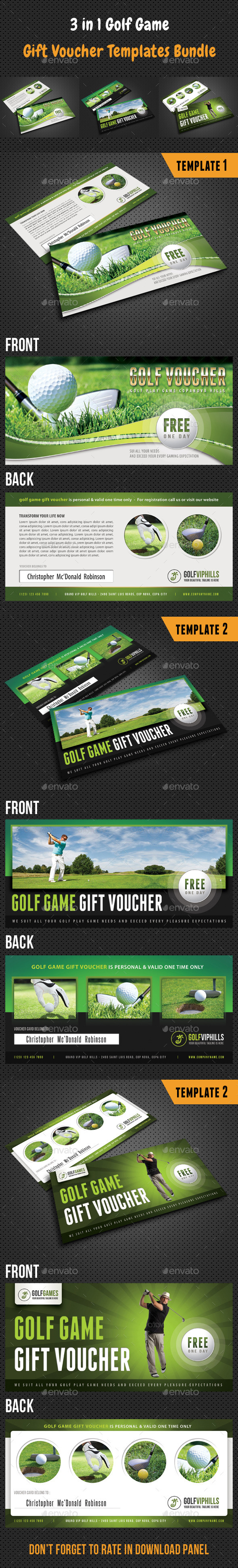 GraphicRiver 3 in 1 Golf Game Gift Voucher Bundle 9263494