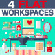 Woman Workspace Flat Design - GraphicRiver Item for Sale