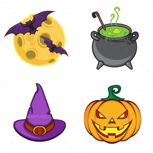 GraphicRiver Halloween Cartoon Icon Objects 9263669
