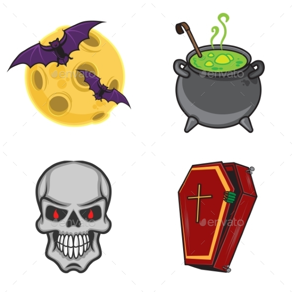 GraphicRiver Halloween Cartoon Icon Objects 9263671
