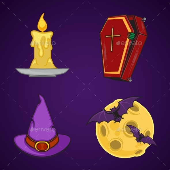 GraphicRiver Halloween Cartoon Icon Objects 9263672