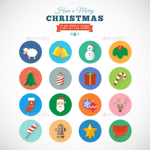 GraphicRiver Flat Style Christmas Vector Icon Set With Gift Box 9263793