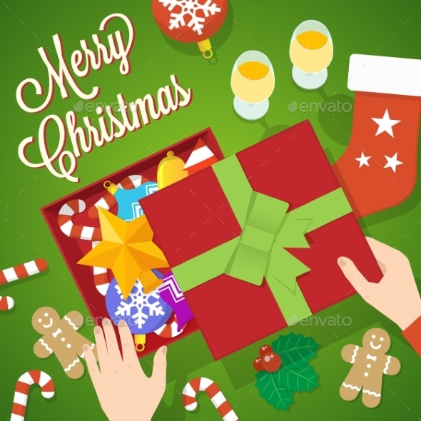 GraphicRiver Flat Style Christmas Vector Card or Background 9263809
