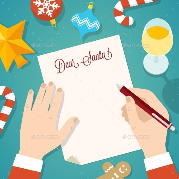 GraphicRiver Letter to Santa Flat Style Christmas Vector Card 9263811
