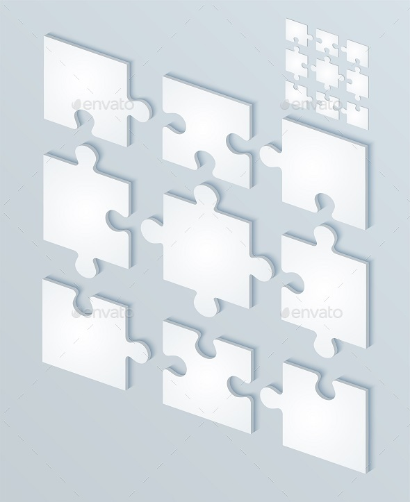 GraphicRiver Parts Flat of Paper Puzzles 9264039