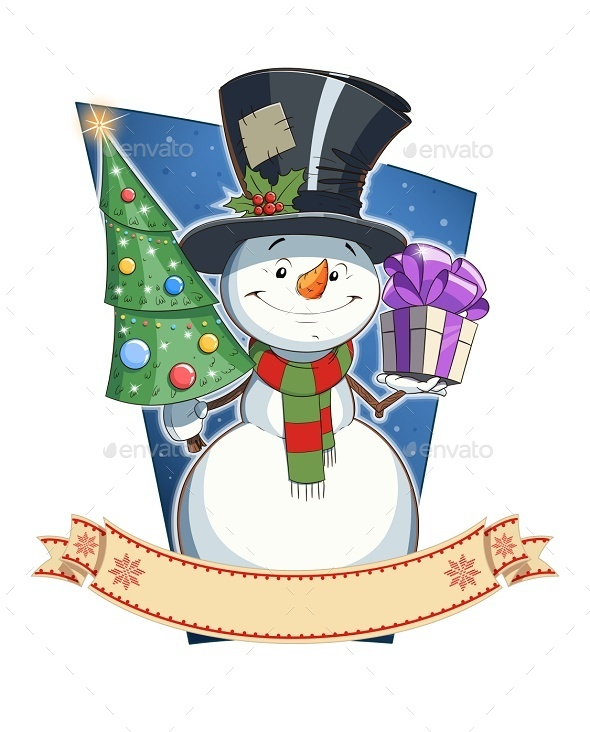 GraphicRiver Snowman with Gift Christmas Character 9264096