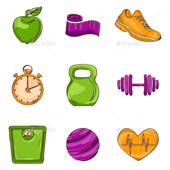 GraphicRiver Fitness Sketch Line Icons 9264107