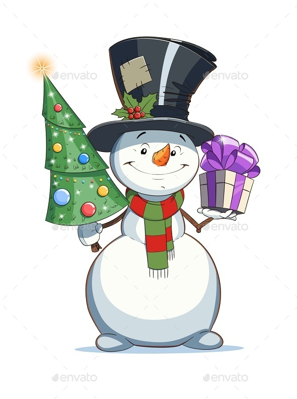 GraphicRiver Snowman with Gift Christmas Character 9264130