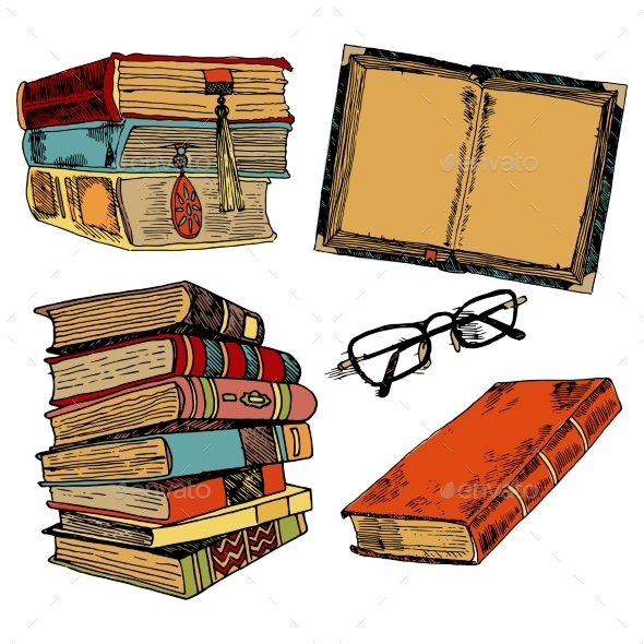 GraphicRiver Vintage Books Color Sketch 9264179