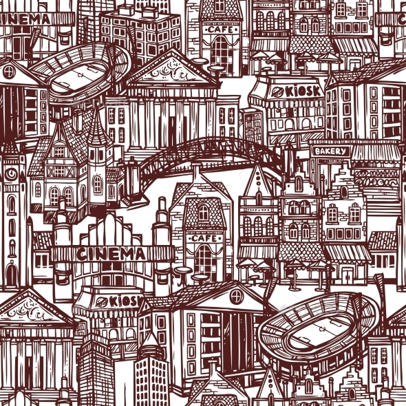 GraphicRiver Sketch City Seamless Pattern 9264194