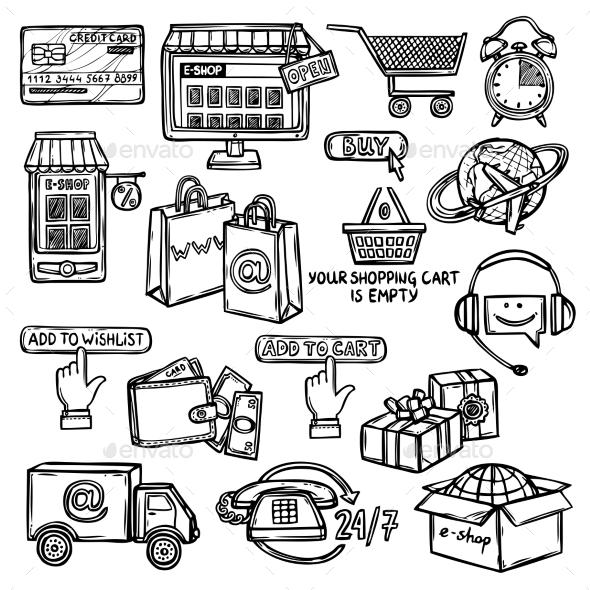 GraphicRiver E-Commerce Icons Set Sketch 9264202