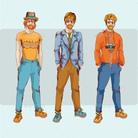GraphicRiver Hipster Boy Character Set 9264243