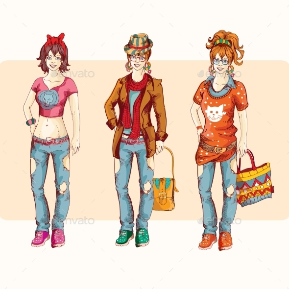 GraphicRiver Hipster Girl Set 9264247