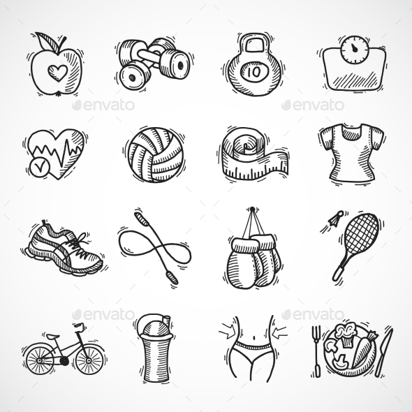 GraphicRiver Fitness Sketch Icons Set 9264260
