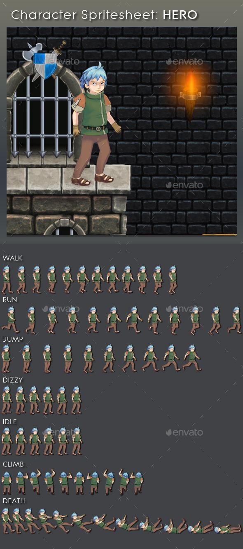 GraphicRiver Character Spritesheet Hero 9264512