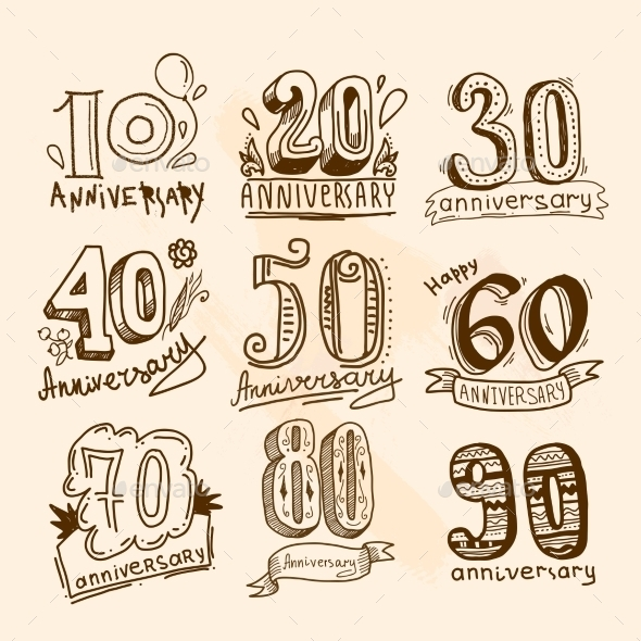 GraphicRiver Anniversary Signs Set 9264551