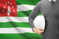 Engineer with flag on background  - Abkhazia - PhotoDune Item for Sale