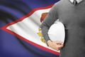 Engineer with flag on background - American Samoa - PhotoDune Item for Sale