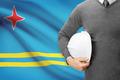 Engineer with flag on background - Aruba - PhotoDune Item for Sale