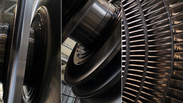 Power Steam Turbine Rotates at the Plant 02