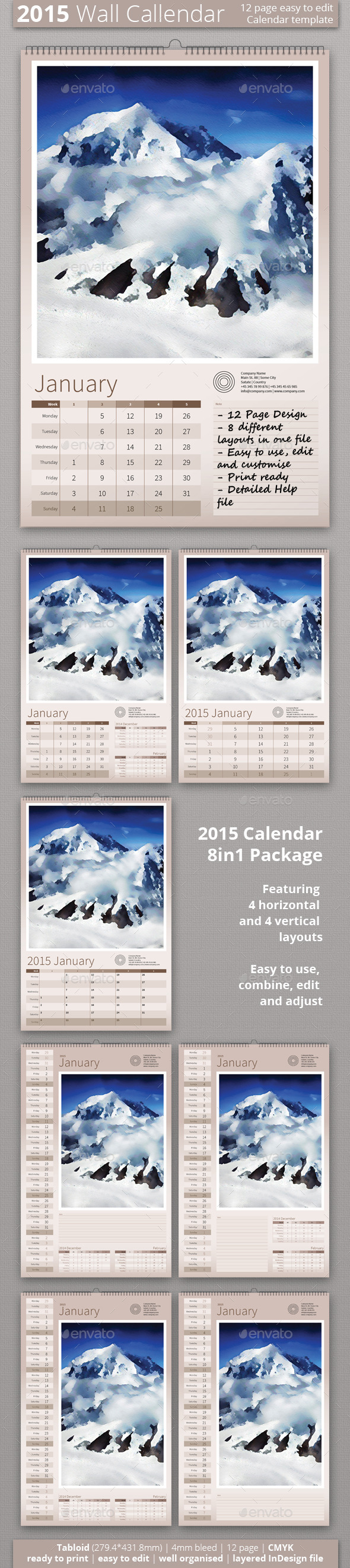GraphicRiver 2015 Wall Calendar 9265557