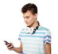 Teenager listening music on headphones - PhotoDune Item for Sale
