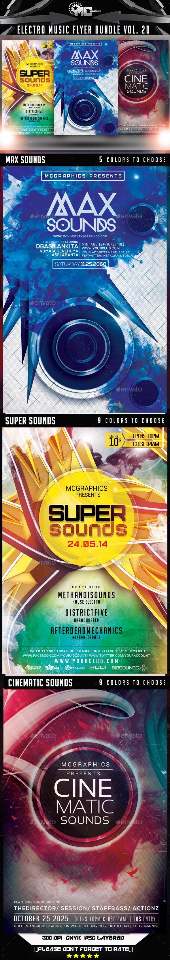 GraphicRiver Electro Music Flyer Bundle Vol 20 9266670