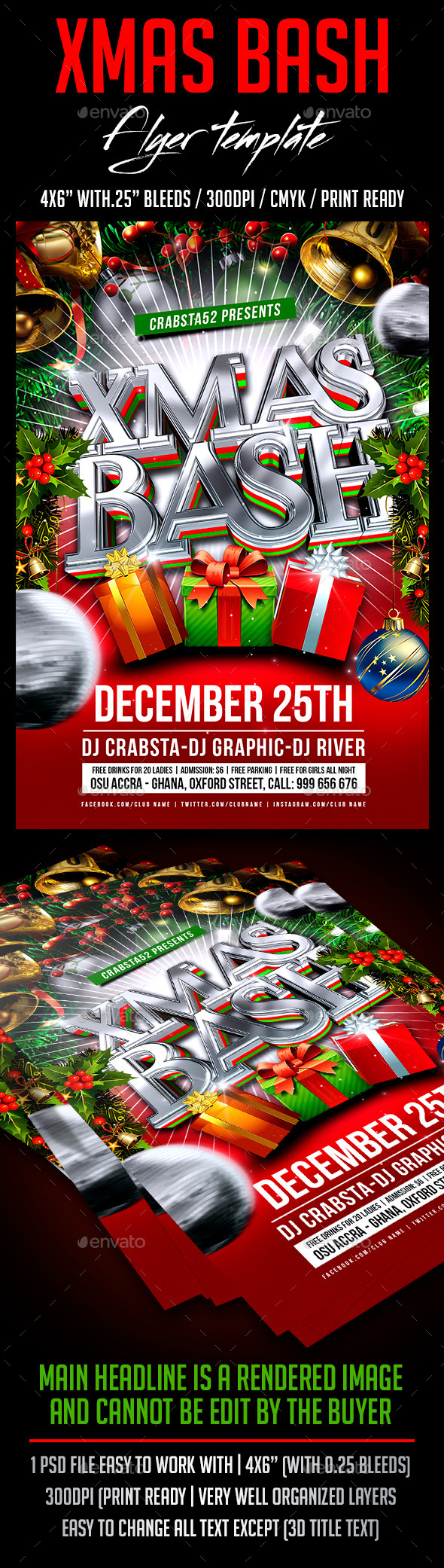 GraphicRiver Xmas Bash Flyer Template 9267123