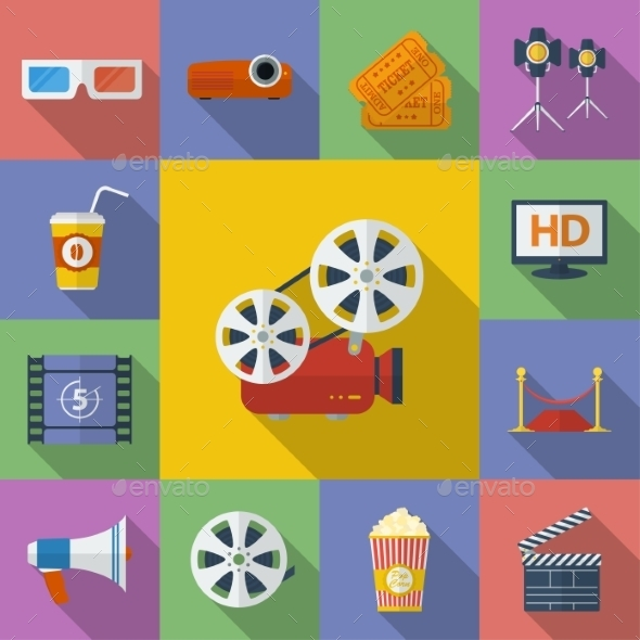 GraphicRiver Set of Cinema Movie Icons Flat Style 9267256