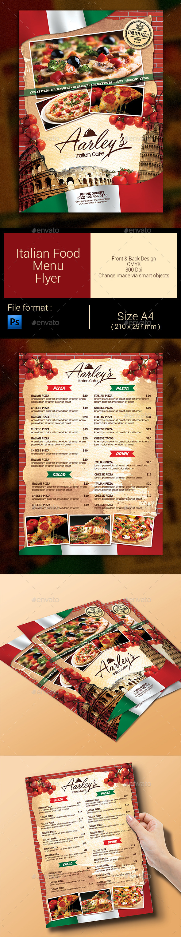 GraphicRiver Italian Food Menu Flyer 9267264