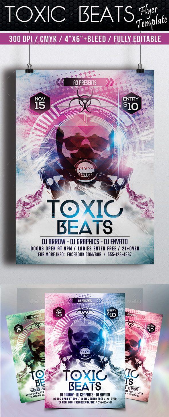 GraphicRiver Toxic Beats Flyer Template 9267437
