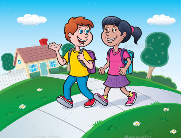 GraphicRiver Two Kids Walking To School 9267577