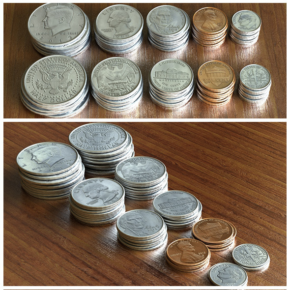 US Dollar Coins Set - 3DOcean Item for Sale