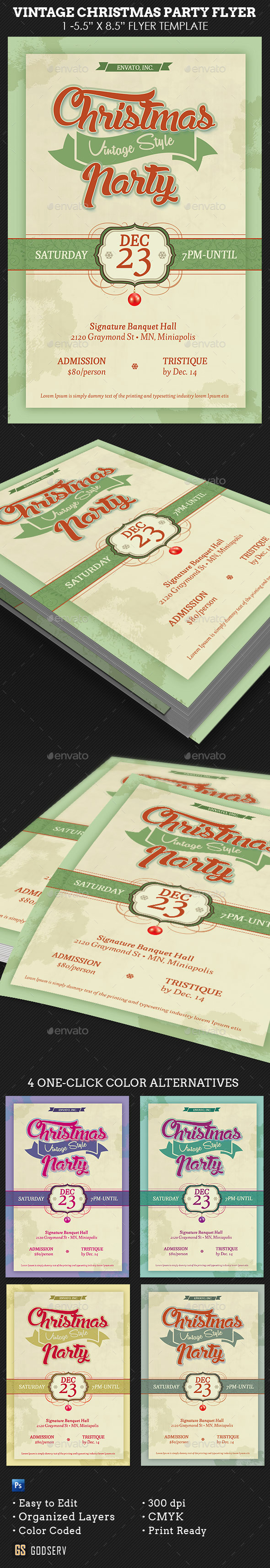 GraphicRiver Vintage Christmas Party Flyer Template 9267688