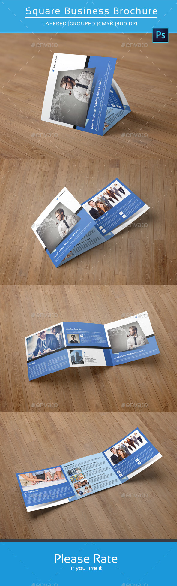 GraphicRiver Business Square Trifold Brochure-V43 9267690