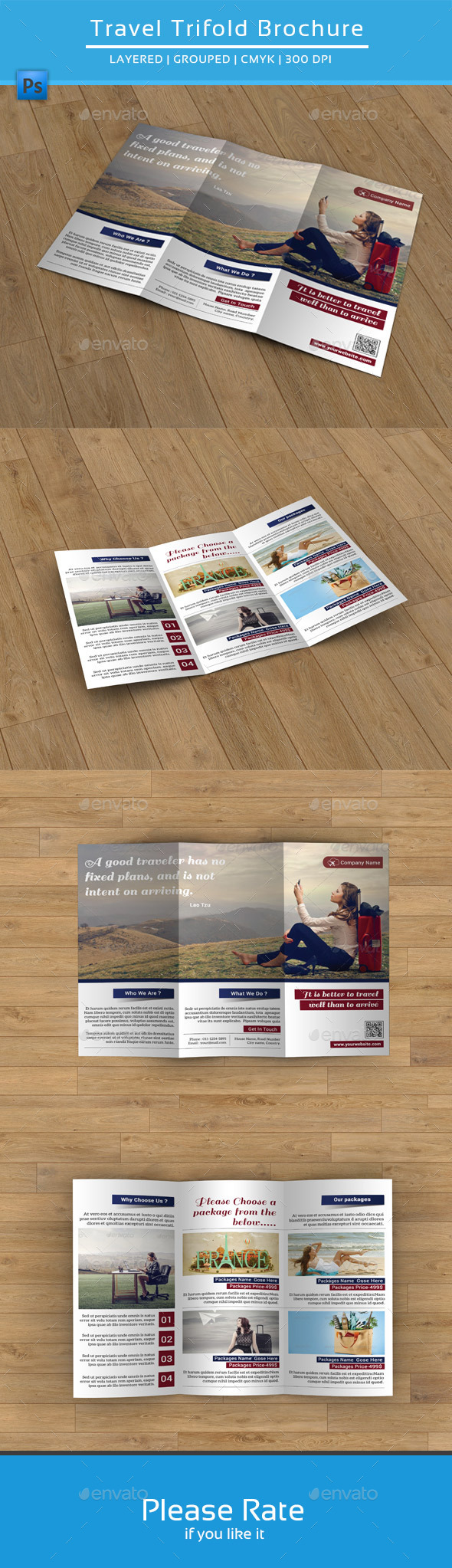 GraphicRiver Clean Travel Trifold Brochure-V79 9267708