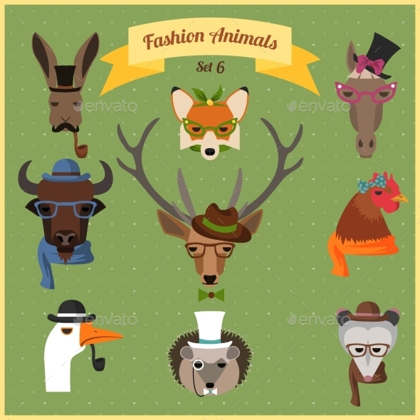 GraphicRiver Fashion Hipster Animals Set 9268123