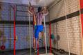Climb with two 2 ropes exercise man at gym - PhotoDune Item for Sale