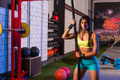 beautiful fitted girl at gym with black rope - PhotoDune Item for Sale