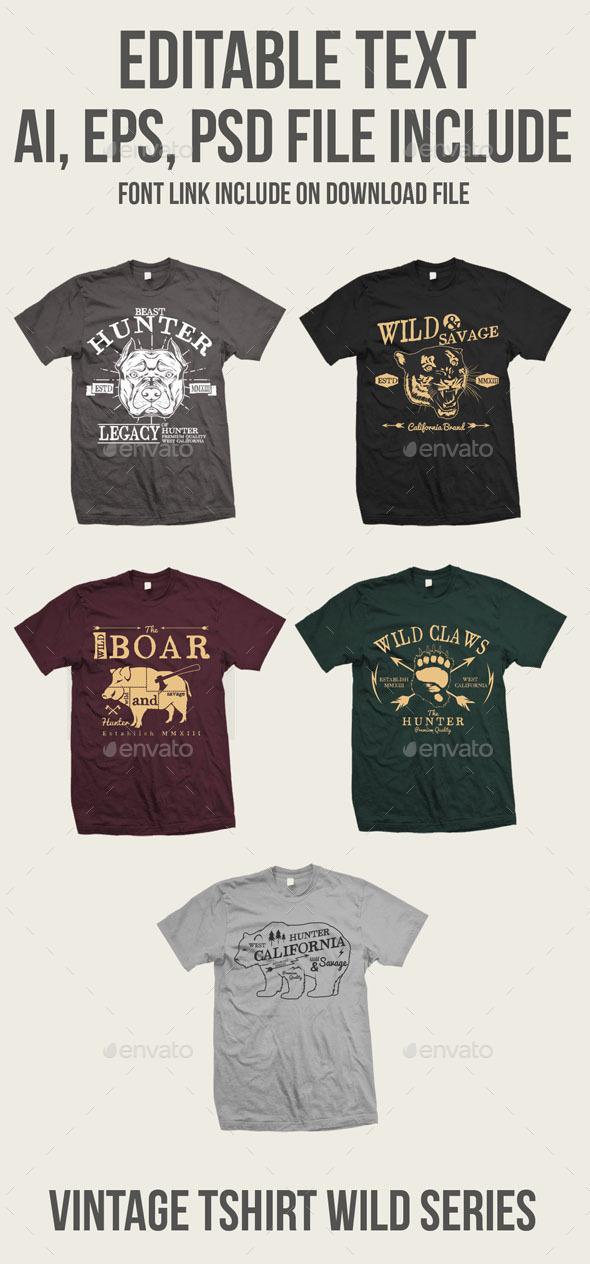 GraphicRiver 5 Vintage Wild Tshirt 9268665