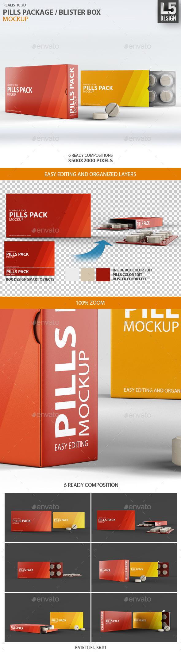 GraphicRiver Pills Package Blister Box Mock-up 9268952