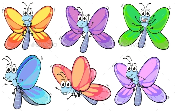 GraphicRiver A Group of Colourful Butterflies 9268987