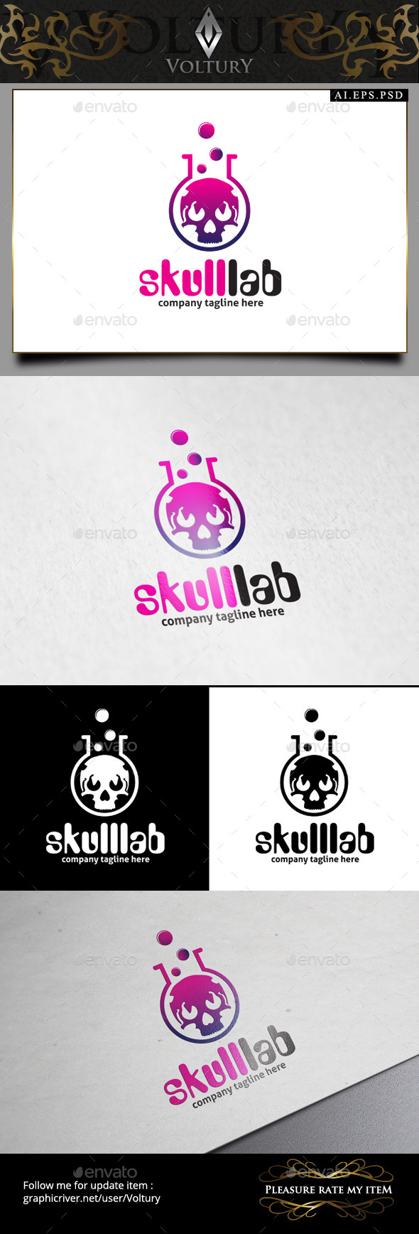 GraphicRiver Skull Lab Logo 9269032