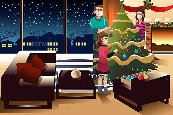 GraphicRiver Family Decorating Christmas Tree 9269153